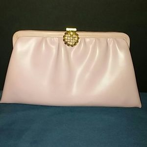 Vintage Pink Leather Clutch With Ornate Clasp